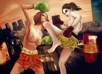 Sabrina vs Elin - Muay Thai by deiulamb