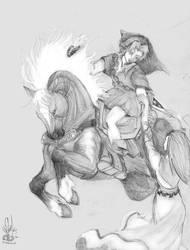 Zelda: Link, Epona and Zelda by morganalefay