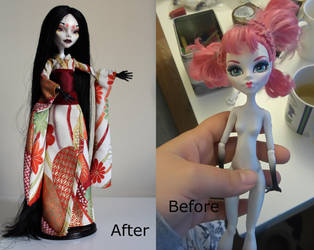 Yurei, Monster high custom - before and after by Rin0730