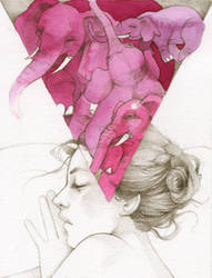 Pink Elephants by elia-illustration