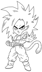 goku ssj4 chibi lineart by maffo1989