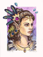Amethyst Lady-Stone Watercolor by windfalcon