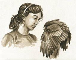 Harris and Girl - Sepia by windfalcon