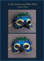 Gold, Blue Bird - Leather Mask by windfalcon