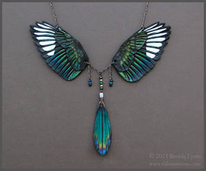 Magpie Wings - Leather Necklace by windfalcon