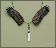 Bald Eagle Wings - Leather Necklace by windfalcon