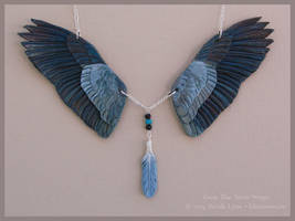 Great Blue Heron - Leather Wings Necklace by windfalcon