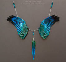 Blue and Green Wings - Leather Necklace by windfalcon