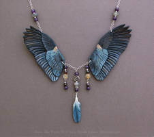 Great Blue Heron II - Leather Necklace by windfalcon