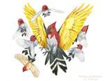 Pokemon Birds - Fletchling and Fletchinder by windfalcon
