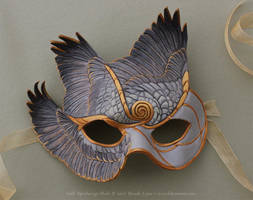 Gold Spiralwings Leather Mask by windfalcon