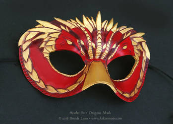 Scarlet Five Dragons Leather Mask by windfalcon