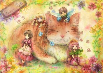 cat and fairies by Harukim