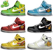 Angry Birds Nike Dunks by kaycunana