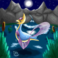 Cresselia and the moonnight by Kiuna-chan