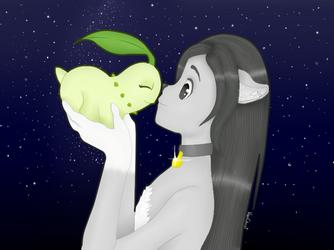 Zygfryd and Chikorita (gift for Wadereta) by VanChriist