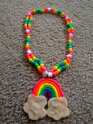 Rainbow Kandi Necklace by thepiecesoflove