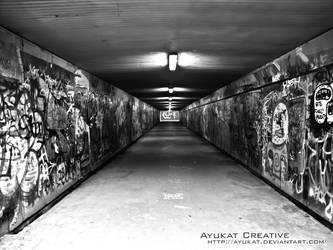 Graffiti Tunnel BW by ayukat