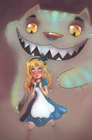 Cheshire Cat and Alice by vincenthachen