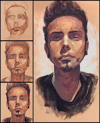 auto portrait - on acrylics by vincenthachen