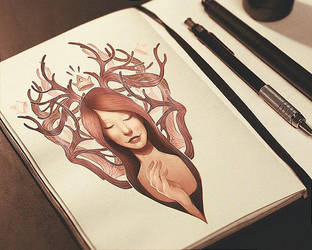 Deer girl by vincenthachen