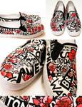Newspaper Flower Shoes by artsyfartsyness
