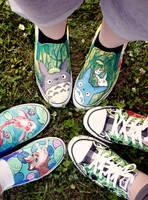 Totoro, Panda, Fish by artsyfartsyness