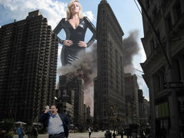 Margot Robbie approaches the city by Natkatsz