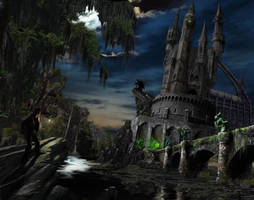 Haunted Castle Matte Painting by CamT