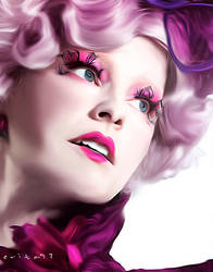 Effie Trinket Drawing/Painting Effect Photoshop by evita92