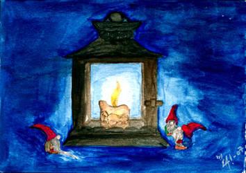 Christmas card: Tomtelykta by Ahrn