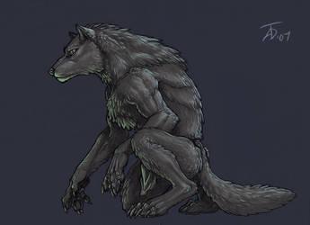Black Werewolf by KaiserFlames