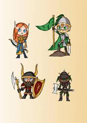 High Fantasy Cuties - Elf, Human, Dwarf, Goblin by Eledrath