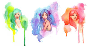 Watercolor Girls by GabrielleBrickey