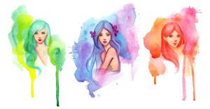 Watercolor Girls by GabrielleBrickey