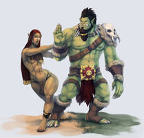 Desert Orc meets Forest Orc by SavageDeity