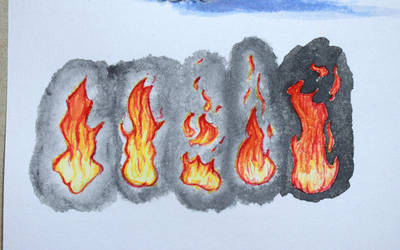 #504 - Watercolor Flame Study by RodentNomNom