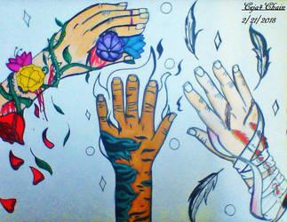 Sarah's, Jason's, and Moeru's hands. by Ceja4Chain