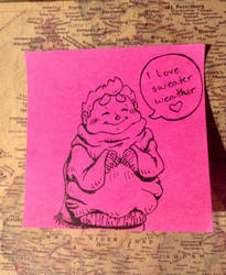PinkStickyNote! I Love Sweater Weather by Alicia-Imagination