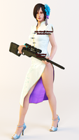 Ada Wong White Chinese Dress With Sniper Render by Kunoichi-Supai