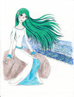 Green-haired Shore Girl by XenaQuill