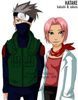 Hatake Kakashi and Sakura by Amyln