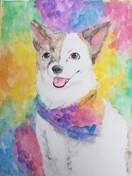Handsome Doggo - watercolor commission by chipperpony