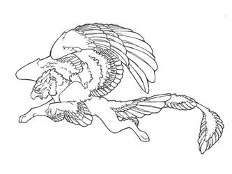 gryph line art by EatsNoCheese