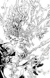 Poison Ivy vs. Batman Pin Up Inks by RobertDanielRyan