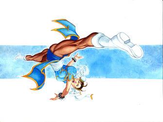 Chun-Li Spinning Bird Kick Pin-Up Watercolor by RobertDanielRyan