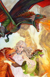 Daenerys Targaryen Dracarys Watercolor Pin Up by RobertDanielRyan