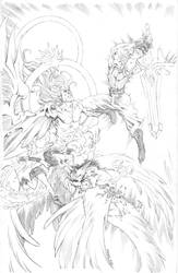 Cloud, Tifa + RedXIII vs. Safer Sephiroth Pencils by RobertDanielRyan