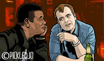 Steve McDonald and Lloyd chat in the Rovers Return by pickledjo