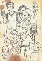 Uncharted - Nathan Drake sketches by pikapikashuichi